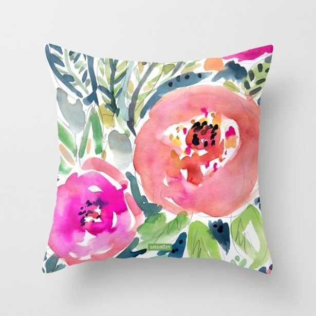 "Peach Floral Pillow - 18"" x 18"" - Down Insert - Society6"