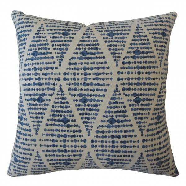 """Cahdla Geometric Pillow Blue - 22"""" x 22"""" - Down insert - Linen & Seam"""