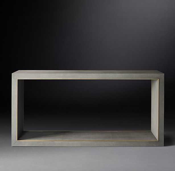 CELA SHAGREEN CONSOLE TABLE - Fog Shagreen & Solid Burnished Brass - RH Modern
