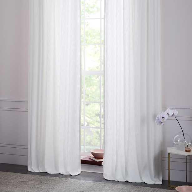 CottonTextured  Jacquard Curtain - Stone White - 108 - West Elm