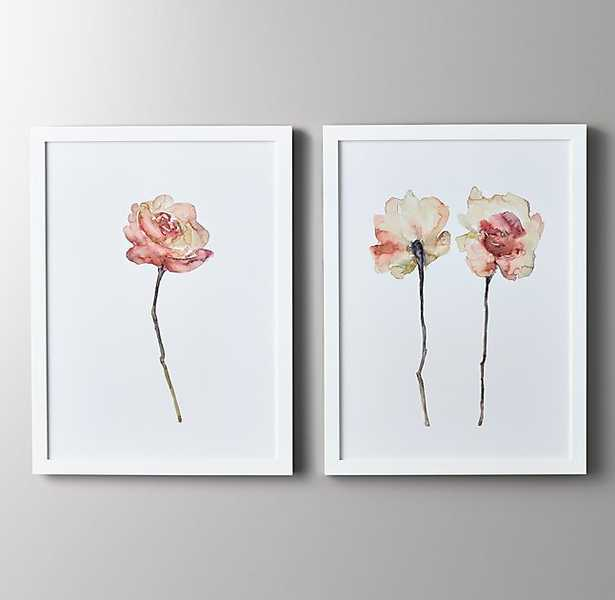 "Watercolor Flower Art - Pink-single-27"" x 36""-White Frame - RH Baby & Child"