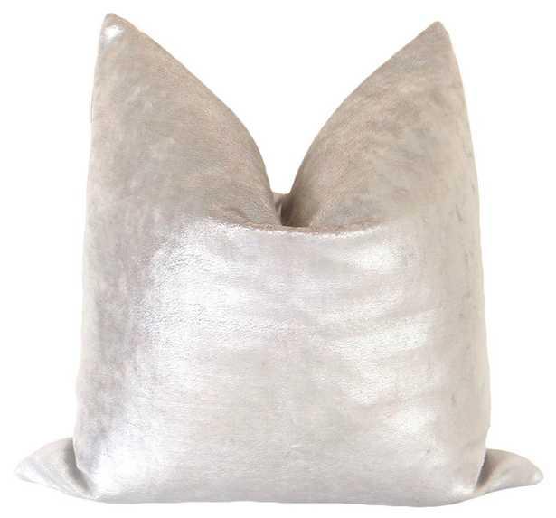 "Sueded Metallic Velvet // Silver Pillow Cover 18"" x 18"" - Little Design Company"