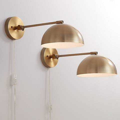 Brava Antique Brass Down-Light Wall Lamp plug in Set of 2 - Plug In - Lamps Plus