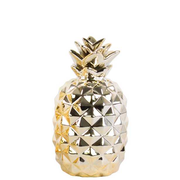 11.5 in. H Pineapple Decorative Figurine in Gold Polished Chrome Finish - Home Depot