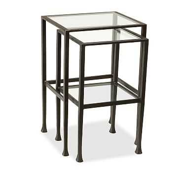 Tanner Metal & Glass Nesting Tables, Set of 2, Matte Iron-Bronze finish, Premium In-Home Delivery - Pottery Barn