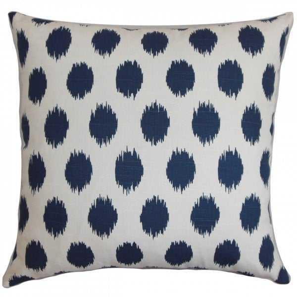"""Juliaca Ikat Pillow, 18"""" x 18"""", Navy Blue & White - Linen & Seam"""