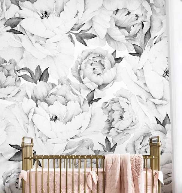Peony Floral and Botanical Peel and Stick Wallpaper Tile - Wayfair