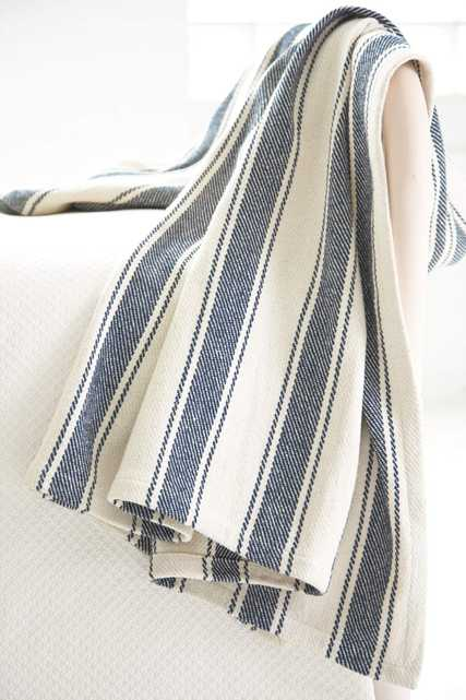 Blue Awning Stripe Woven Cotton Throw - Dash and Albert