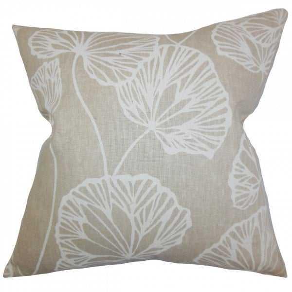 "Fia Floral Pillow Natural - 18"" x 18"" - Down fill - Linen & Seam"