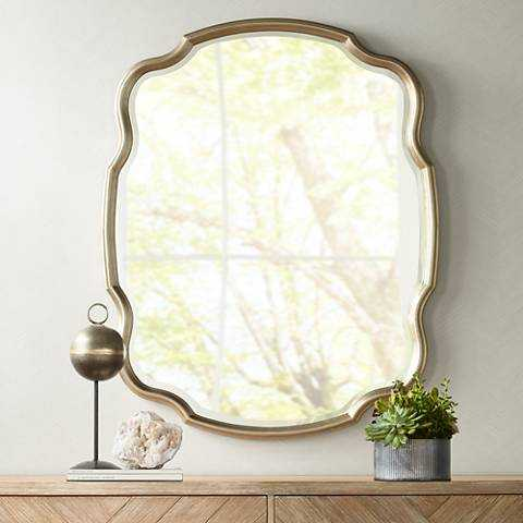 """Melba Champagne Curved 34 1/4""""x42 1/2"""" Wall Mirror - Lamps Plus"""
