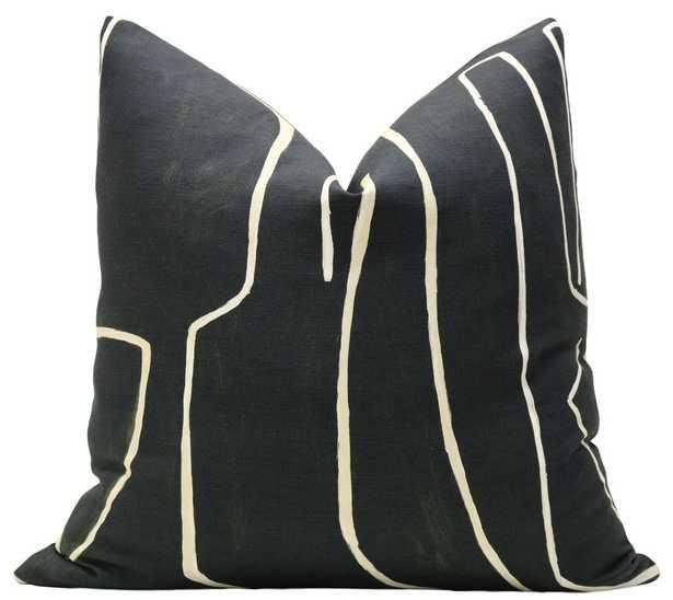 "Graffito // Onyx + Beige, 20"" Pillow Cover - Little Design Company"