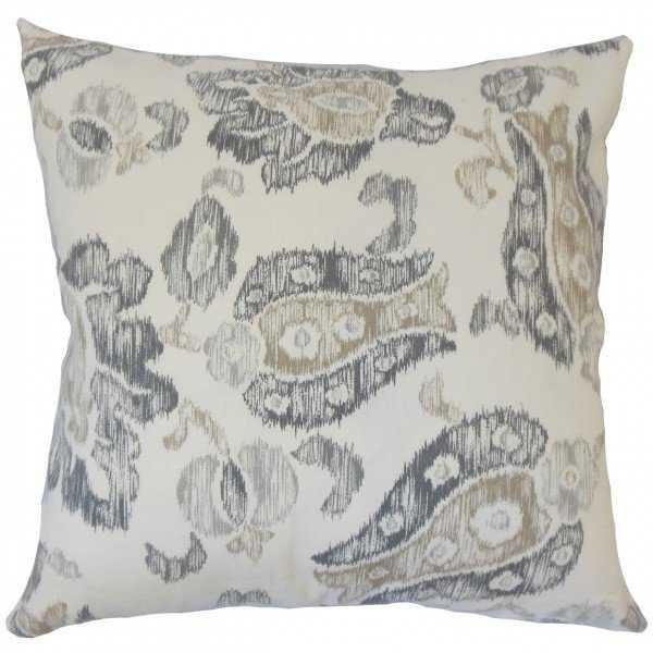 Kaley Ikat Pillow Grey - 18x18 - Down insert - Linen & Seam