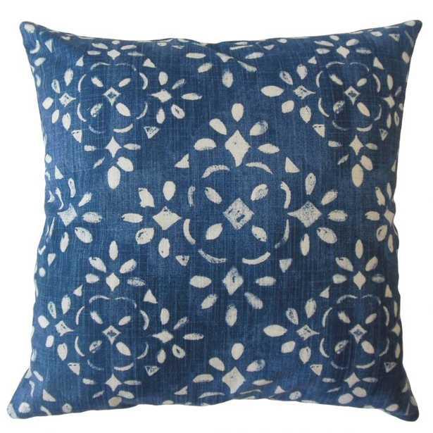 "Edyta Ikat Pillow Blue - 20"" with poly insert - Linen & Seam"