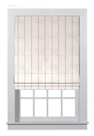 "CUSTOM: Classic Roman Shades, 30.5""W x 44""L in Fabric 1062 Linen Stripe Blue-White - Home Depot"