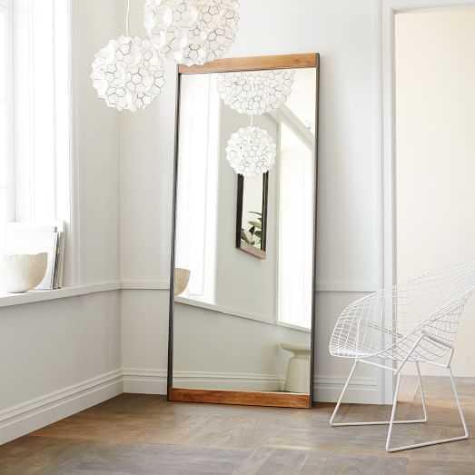 Industrial Metal + Wood Floor Mirror - West Elm