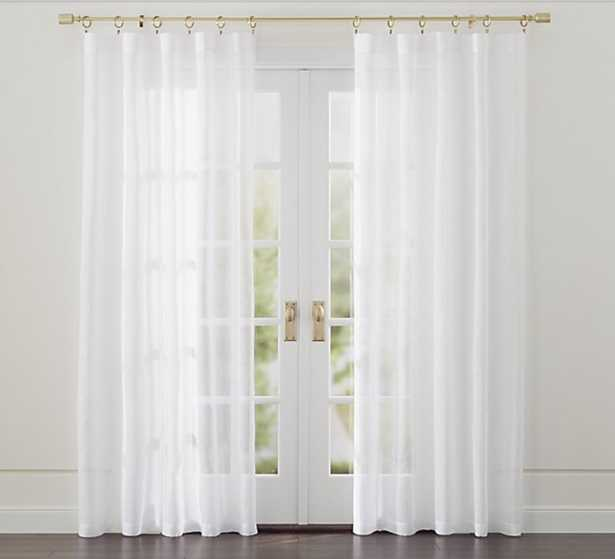 """Linen Sheer 52""""x96"""" White Curtain Panel - Crate and Barrel"""