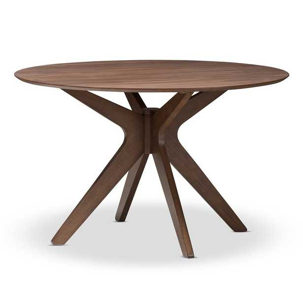 MONTE MID-CENTURY MODERN WALNUT WOOD 47-INCH ROUND DINING TABLE - Lark Interiors