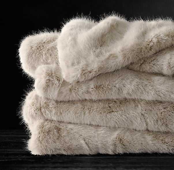 Ultra Faux Fur Throw - cream - RH