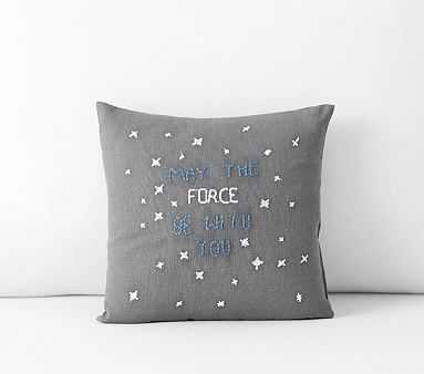 """Star Wars(TM) May The Force Be With You Pillow, 10x10"""", Grey - Pottery Barn Kids"""