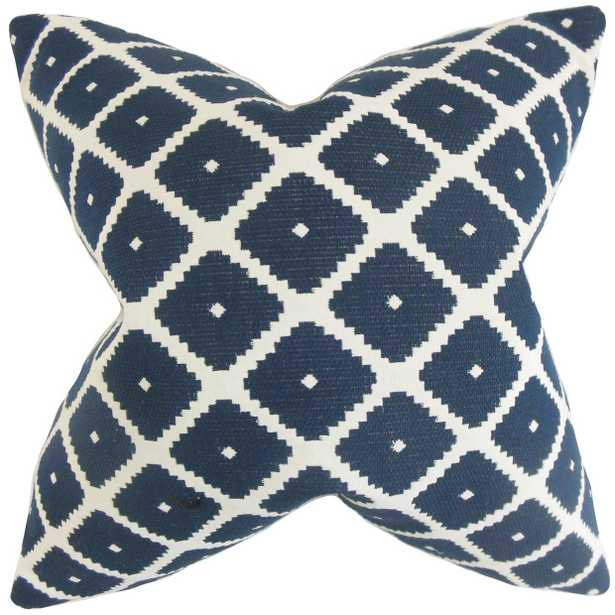 Fallon Geometric Pillow Blue - 20x20 With down insert - Linen & Seam