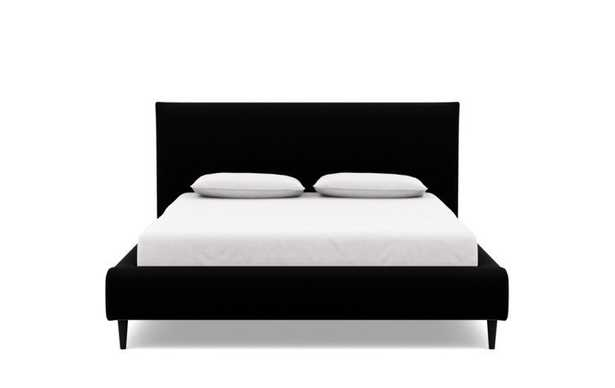 Harper Queen Bed - Panther Heavy Cloth - High Headboard - Painted Black Tapered Round Leg - Interior Define