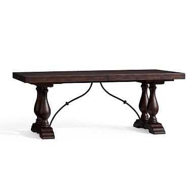 "Lorraine Medium Extending Dining Table, Rustic Brown 78""-100"" - Pottery Barn"