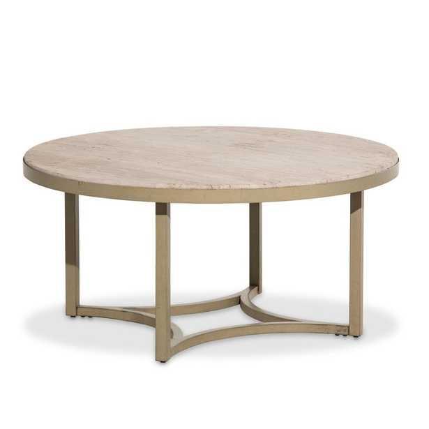Alta Round Coffee Table-Travertine - Perigold