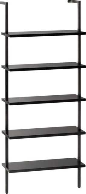 """Stairway Black 72.5"""" Wall Mounted Bookcase - CB2"""