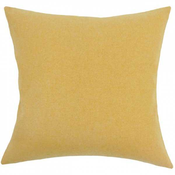 """Acadia Solid Pillow Yellow - 20"""" - With Down insert - Linen & Seam"""
