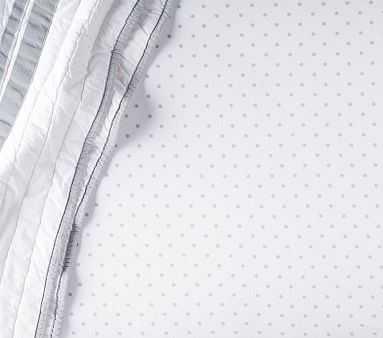 Organic Pin Dot Mini Crib Fitted Sheet, Mini, Gray - Pottery Barn Kids