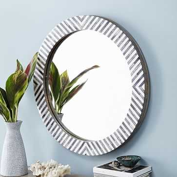 Parson's Wall Mirror, Round, Herringbone Frame - West Elm