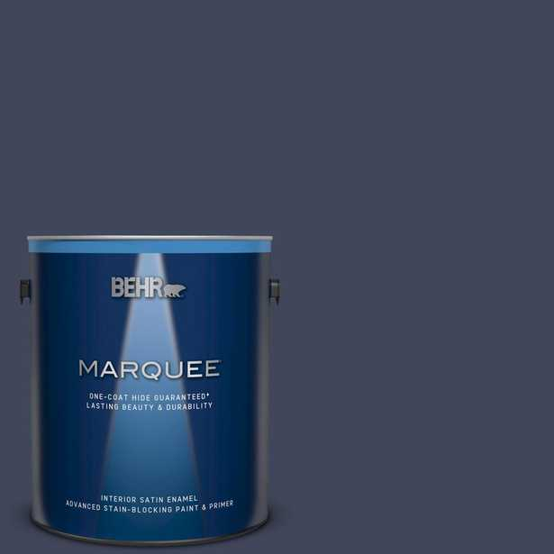 BEHR MARQUEE 1 gal. #S530-7 Dark Navy Satin Enamel Interior Paint and Primer in One - Home Depot