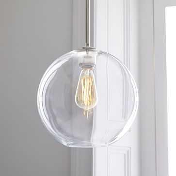 Sculptural Glass Plug In Pendant Clear Medium Globe Polished Nickel - West Elm