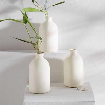 Honeycomb Studio Bud Vase, White, Set of 3 - West Elm
