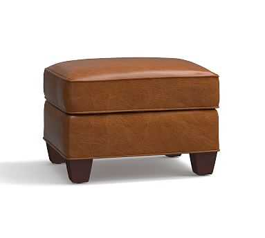 Irving Leather Storage Ottoman, Polyester Wrapped Cushions, Leather Vintage Caramel - Pottery Barn
