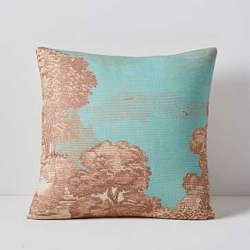 """Embroidered Etched Landscape Pillow Cover, 18""""x18"""", Sunstone - West Elm"""