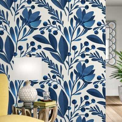"""Keper Removable Flowers Leaves 10' L x 25"""" W Peel and Stick Wallpaper Roll - Birch Lane"""