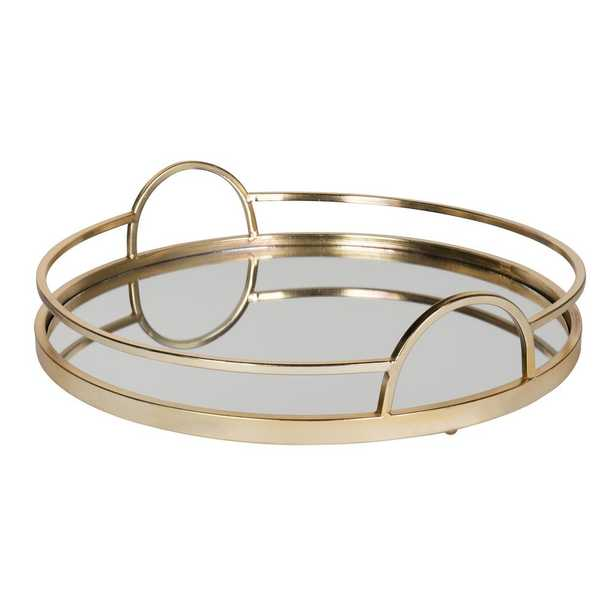 Kate and Laurel Naples Gold Decorative Tray - Home Depot