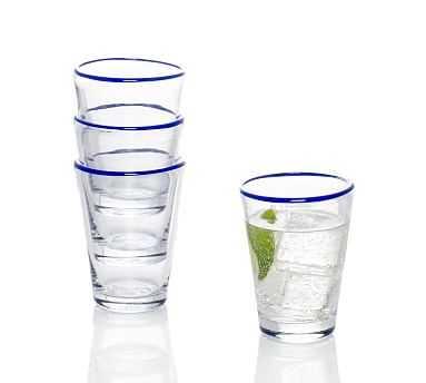 Summer Colored Rim Tumbler Glasses, Set of 4 - Blue - Pottery Barn