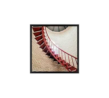 """Lighthouse Stairs Framed Print by Cindy Taylor, 18x18"""", Wood Gallery Frame, Black, No Mat - Pottery Barn"""