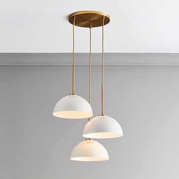 Sculptural Metal 3 Light Round Chandelier, Medium Metal, White Shade, Brass Canopy - West Elm