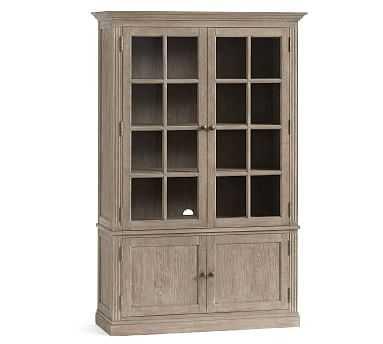 Livingston Glass Cabinet, Gray Wash - Pottery Barn