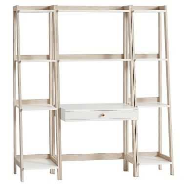 Highland Wall Desk +Narrow Bookcase Set, Simply White/Water-Based Weathered White - Pottery Barn Teen