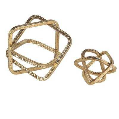 Set Of 2 Bent Metal Hammered Gold Table Top Decor - Wayfair