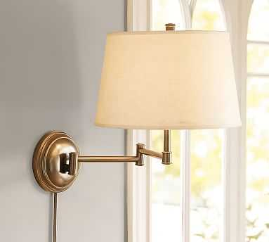 Chelsea Swing-Arm Sconce, Aged Brass Base & Small Tapered Gallery shade, White - Pottery Barn