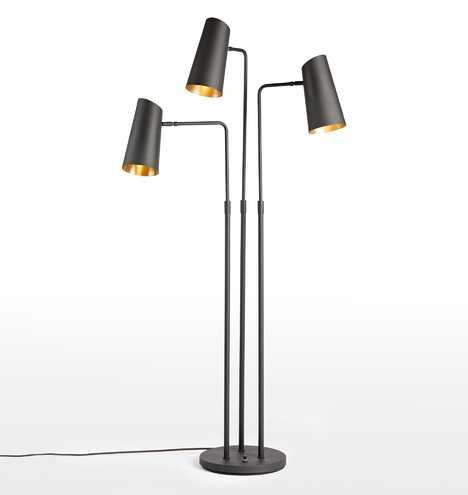 Cypress 3-Arm Floor Lamp - Oil Rubbed Bronze Fixture, Oil Rubbed Bronze Shade - Rejuvenation