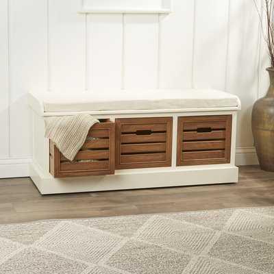 Sonderborg Wood Storage Bench - Wayfair