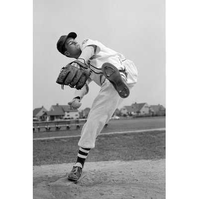 '1950s Teen in Baseball Uniform Winding Up for Pitch' Photographic Print on Wrapped Canvas - Wayfair