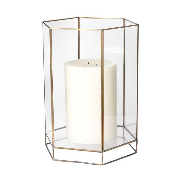 15 in. Glass Oriel Hurricane Candle Holder, Clear - Home Depot