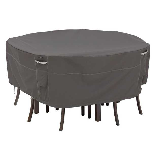 Classic Accessories Ravenna XL Round Outdoor Table and Chairs Cover Premium Durable and Water Resistant Outdoor Patio Cover, Dark Taupe With Mushroom And Espresso Details - Home Depot